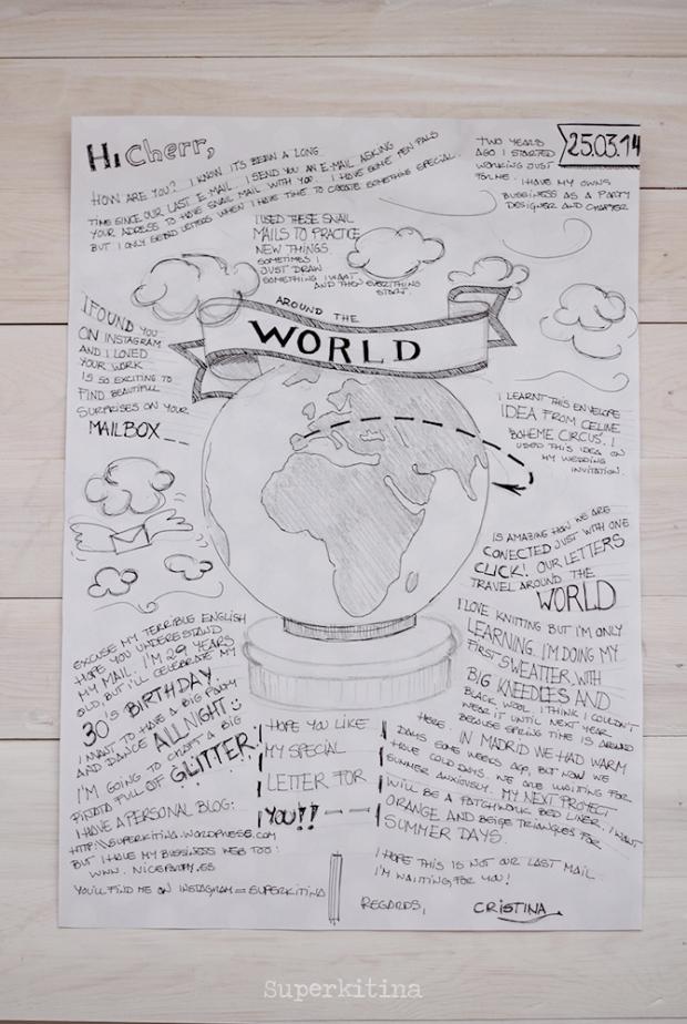 Superkitina snailmail carta dibujo mapamundi penpal