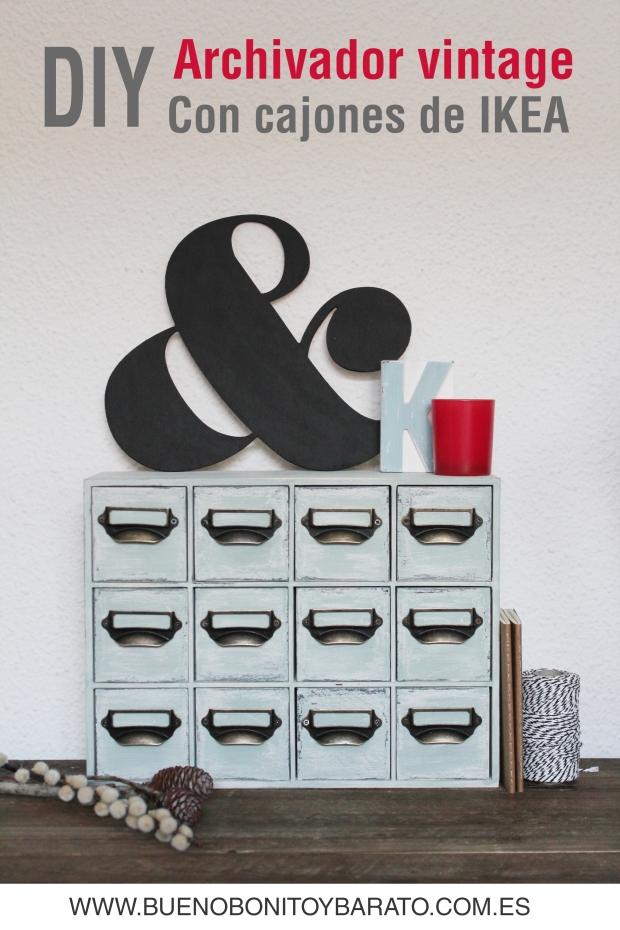 Cajonera de Ikea aspecto vintage con chalk paint