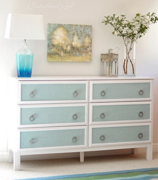 blue-burlap-panel-ikea-dresser-makeover