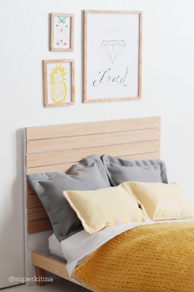 Dormitorio moderno para Barbie, cama de madera handmade